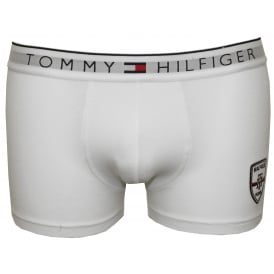Embroidered Hilfiger Shield Prep Boxer Trunk, White