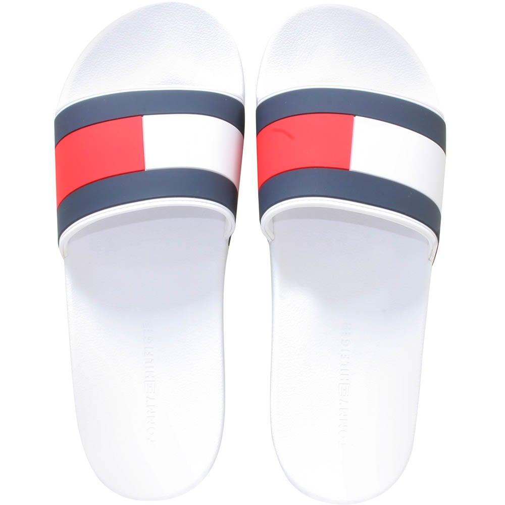 85219c77 Tommy Hilfiger Flag Logo Pool Slides, White | UnderU