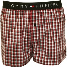 Flag Woven Check Happy Holidays Gift-Set Boxer Shorts, Red