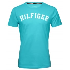 Hilfiger Crew-Neck Organic Cotton T-Shirt, Sky Blue with white