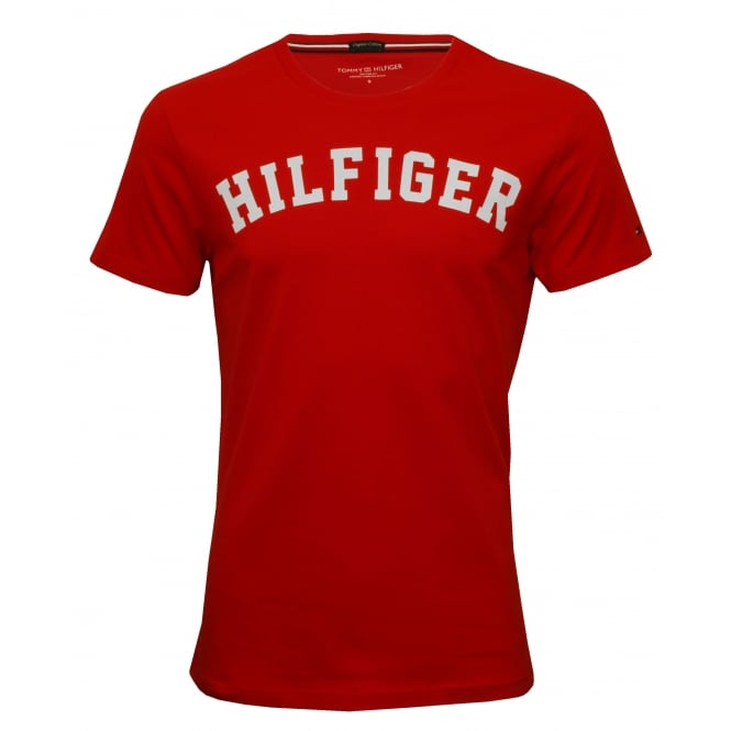 Tommy Hilfiger Hilfiger Crew-Neck Organic Cotton T-Shirt, Tango Red with white