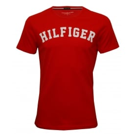 Hilfiger Crew-Neck Organic Cotton T-Shirt, Tango Red with white