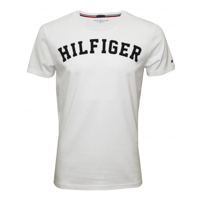 Tommy Hilfiger Hilfiger Crew-Neck Organic Cotton T-Shirt, White with navy