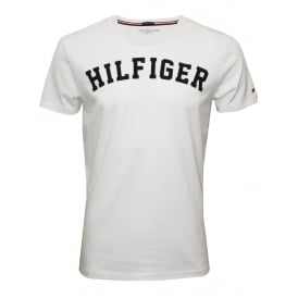Hilfiger Crew-Neck Organic Cotton T-Shirt, White with navy