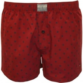 Houtte Star Print Woven Boxer Shorts, Red/Navy