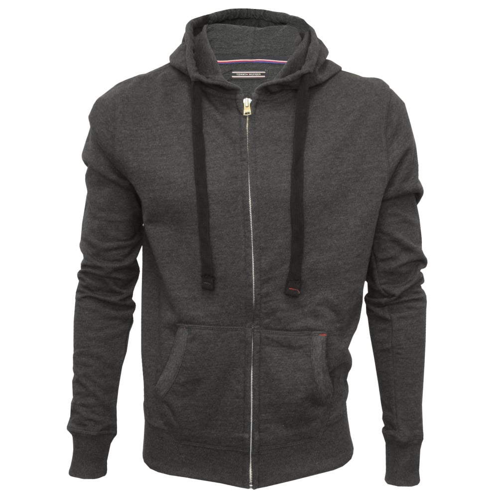 tommy hilfiger icon hawk zip thru hoodie charcoal grey. Black Bedroom Furniture Sets. Home Design Ideas