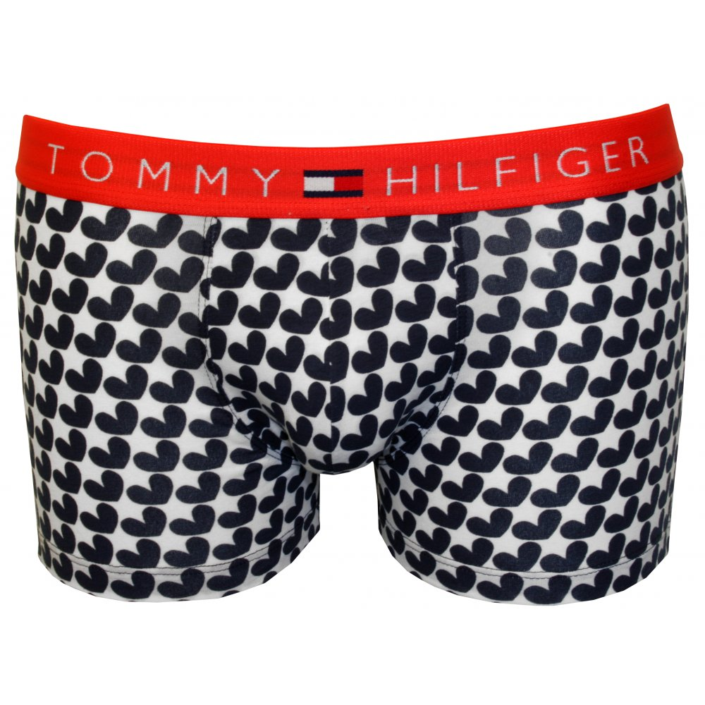 Tommy Hilfiger Hearts Stripe Print Mens Boxer Trunk Gift Set Navy