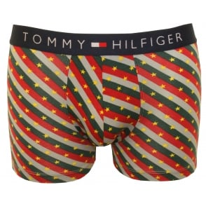 Iconic Americana Stripe Boxer Trunk, Burgundy/White/Navy