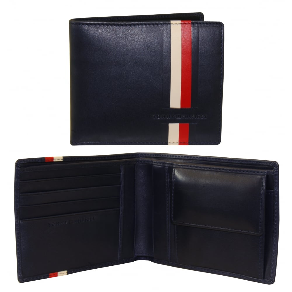 9b5e5ca03f Tommy Hilfiger Icons Stripe Leather Credit Card & Coin-Pocket Wallet ...