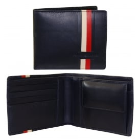 Icons Stripe Leather Credit Card & Coin-Pocket Wallet, Dark Navy