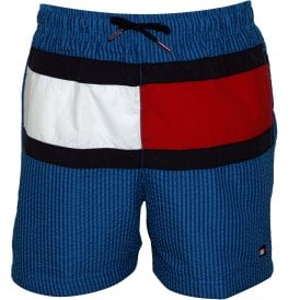 88ec03efdc Ithaca Stripe Flag Logo Boys Seersucker Swim Shorts, Blue Kids. Tommy  Hilfiger ...