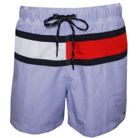 Ithaca Stripe Flag Logo Swim Shorts, Blue