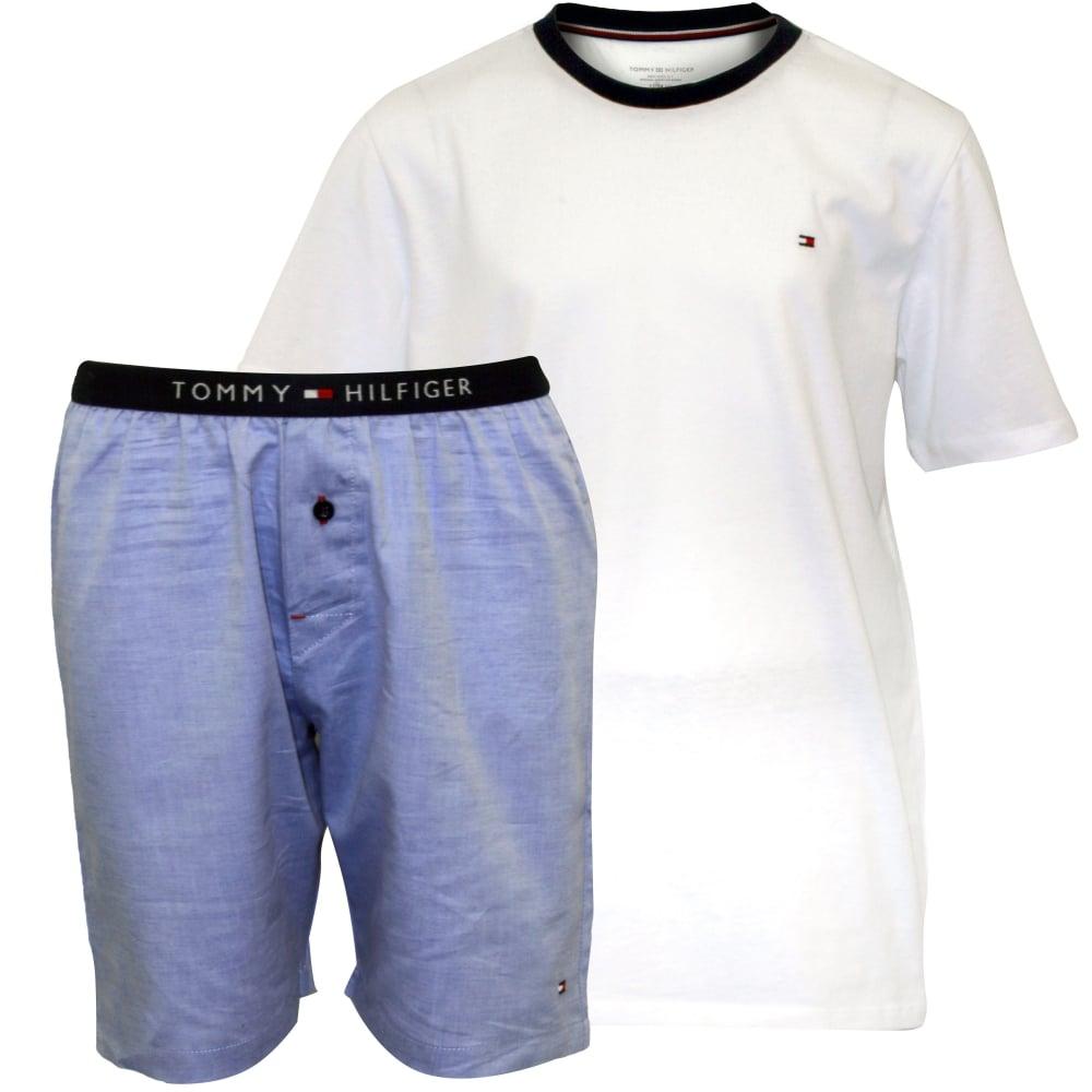 46de0644e Jersey T-Shirt & Woven Stripe Shorts Boys Pyjamas Gift Set, White/