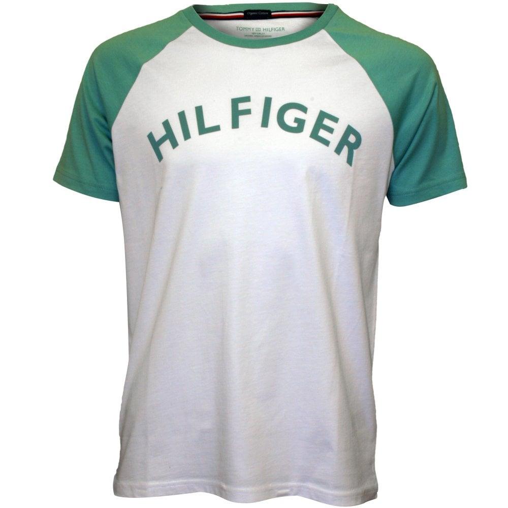 1a3f7381 Tommy Hilfiger Logo Crew-Neck Raglan T-Shirt, White/mint | UnderU