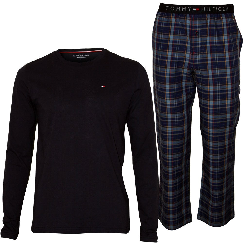 e1f05fe6 Long Sleeve Jersey & Flannel Check Pyjamas Gift Set, Navy/Blue