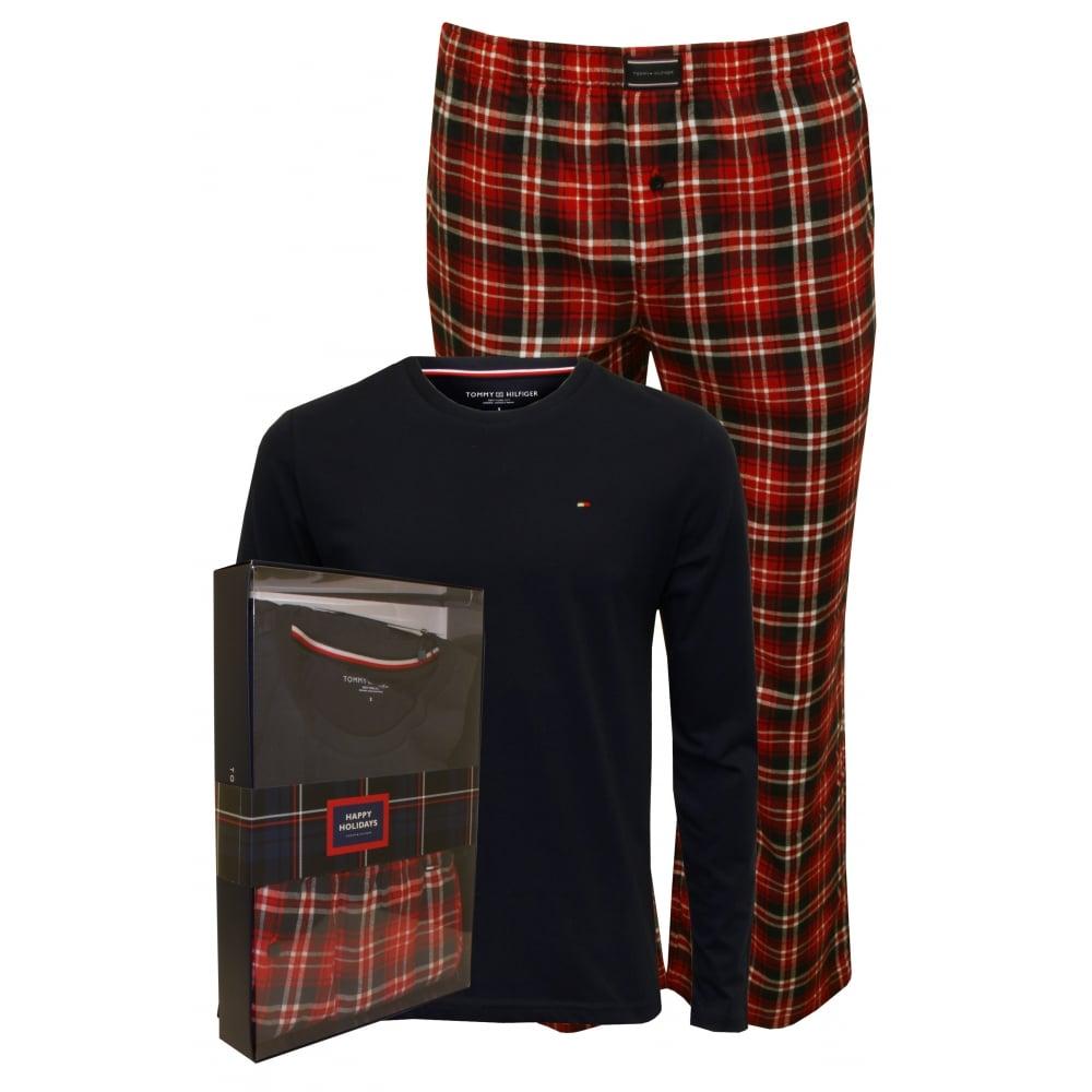 4fa25b8fb06b3 Tommy Hilfiger Long Sleeve Jersey & Flannel Check Pyjamas, Navy/Red ...