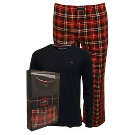 Long Sleeve Jersey & Flannel Check Pyjamas Gift Set, Navy/Red