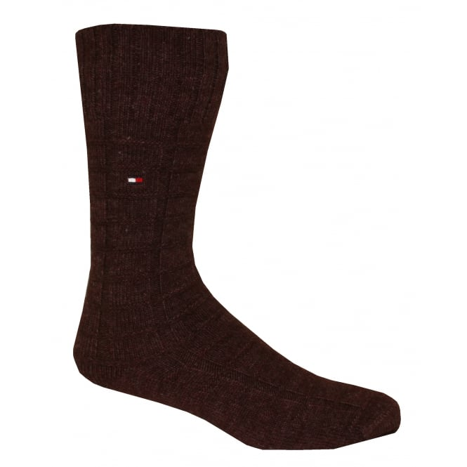 Tommy Hilfiger Merino Wool American Heritage Series Boot Sock, Burgundy Check