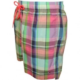 Multi Check Swim Shorts, Pink/Green