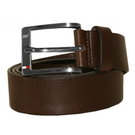 New Aly Leather Belt, Chocolate Brown