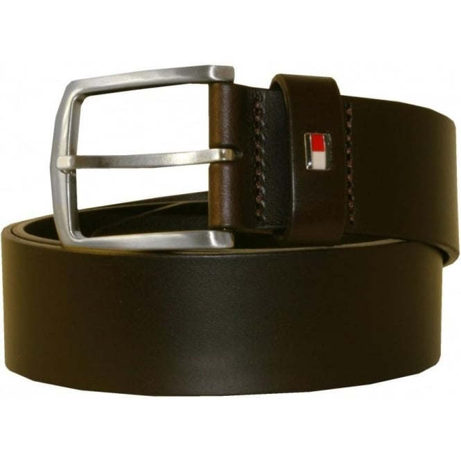 Tommy Hilfiger New Denton Leather Belt, Chocolate Brown