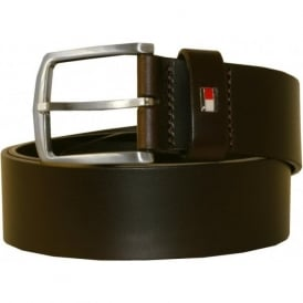 New Denton Leather Belt, Chocolate Brown