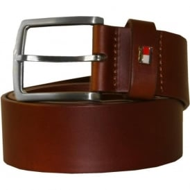 New Denton Leather Belt, Tan Brown