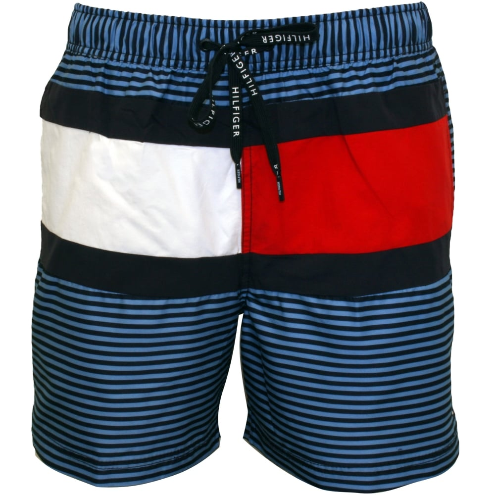 Tommy Hilfiger NEW Blue Mens US Large L Striped Comfort Waist Shorts