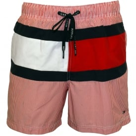 New Ithaca Stripe Flag Swim Shorts, Red