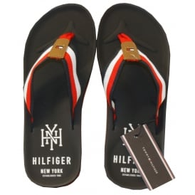 """NY"" Woven Strap Rubber Flip Flops, Navy"