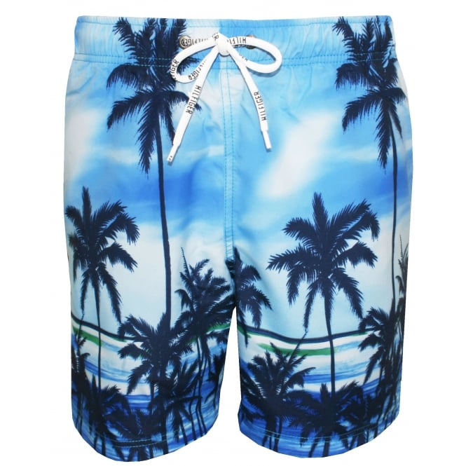 Tommy Hilfiger Palm Tree Swim Shorts, Vivid Blue