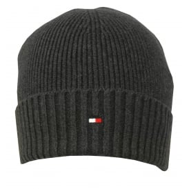 Pima Cotton Cashmere Beanie Hat, Charcoal Grey