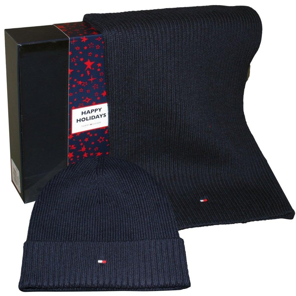 Tommy Hilfiger Pima Cotton Cashmere Hat   Scarf Gift Set Navy  6f5c6f9b1d11