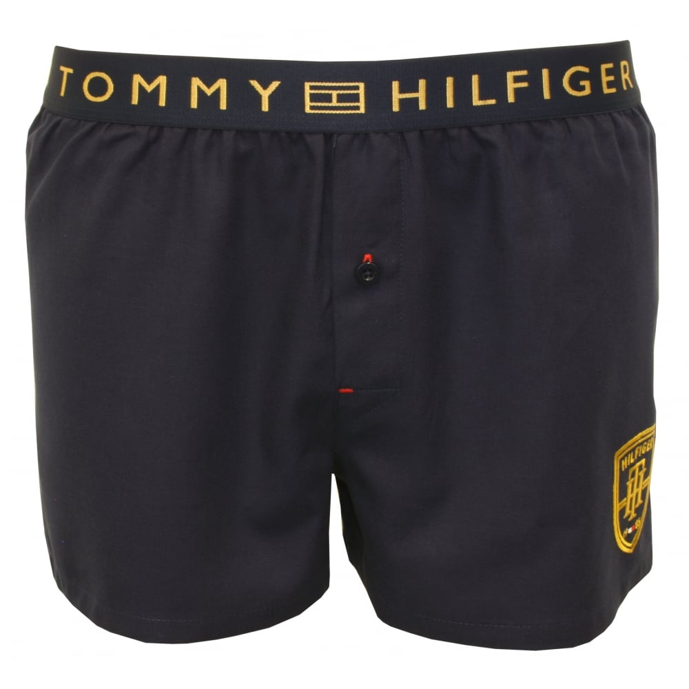 tommy hilfiger prep golden embroidery woven boxer shorts navy white. Black Bedroom Furniture Sets. Home Design Ideas