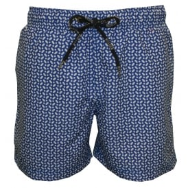 Ricky Geo Print Swim Shorts, Nautical Blue