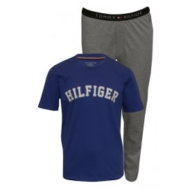 Short-Sleeve Jersey Pyjama Set, Dazzling Blue / Heather Grey