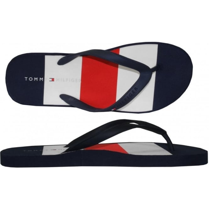 318ab7397c3886 Tommy Hilfiger Striped Woven Flip Flops