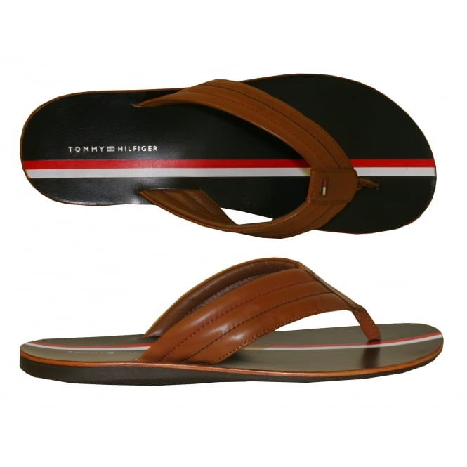 Tommy Hilfiger Summer Cognac Leather Sandals, Navy