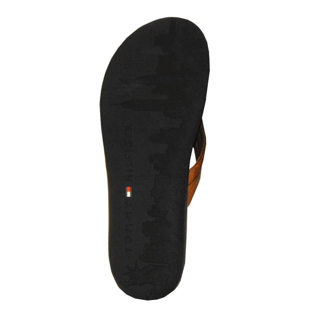 49ca4ef698647 Tommy Hilfiger Summer Cognac Leather Sandals