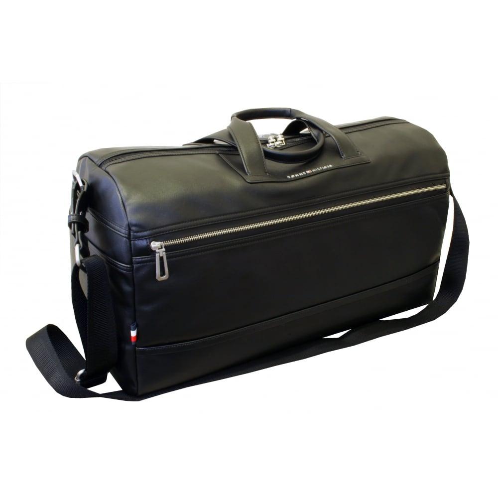 b1215dce Tommy Hilfiger TH City Leather Duffel Travel Bag, Black | UnderU