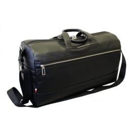 TH City Leather Duffel Travel Bag, Black