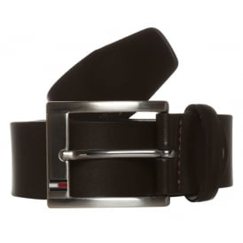 Trenton Leather Belt, Dark Brown