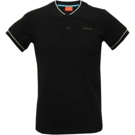 Trendy Sports Polo Shirt, Black with grey contrast