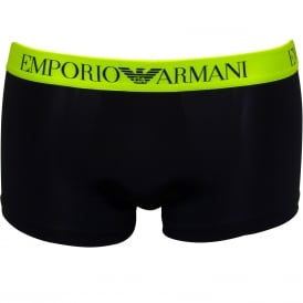 Trendy Under Swim Boxer Trunk, Navy / yellow fluo