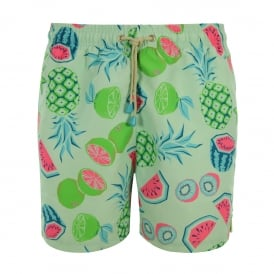Tuckernuck Mid-Length Fun Fruits Swim Shorts, Blue/Multi