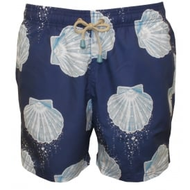 Tuckernuck Mid-Length Sea Shell Swim Shorts, Navy