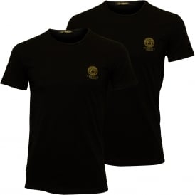 2-Pack Iconic Crew-Neck Stretch Cotton T-Shirts, Black