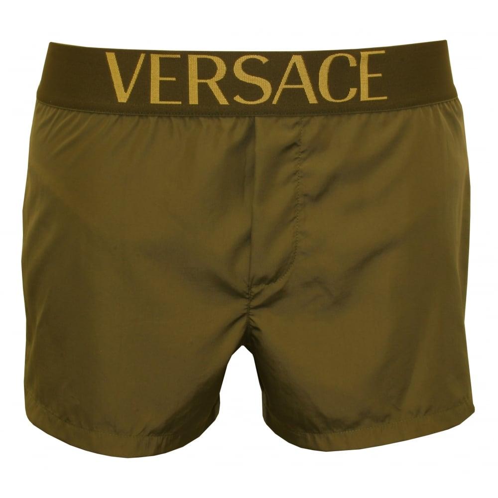 bbe80bada8 Versace Apollo Luxe Swim Shorts, Military Green | UnderU