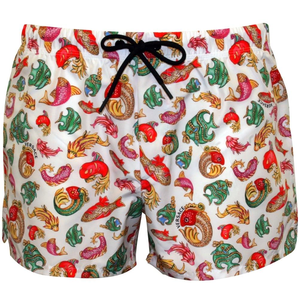 dcb020f824 Versace Goldfish Print Luxe Swim Shorts, White/multi | UnderU