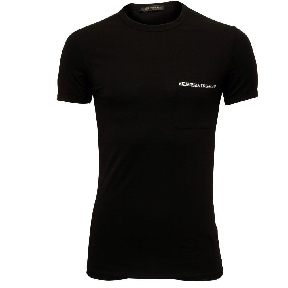 Versace Greca Signature Crew-Neck Pocket Men/'s T-Shirt Black